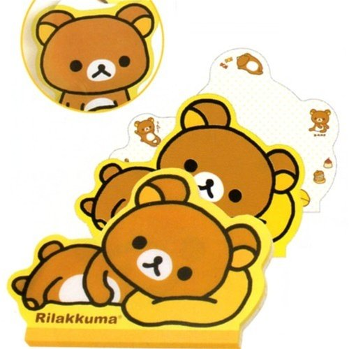 San-X Rilakkuma Die-Cut Memo Pad: Relax Bear Lying (Lying Teddy Bear)