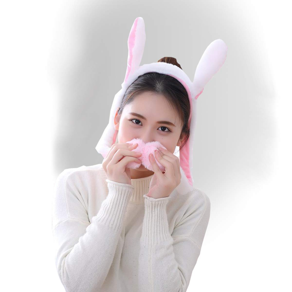 yqtyqs Bunny Headband Rabbit Headware Moving White Ear with Airbag Animal Gift