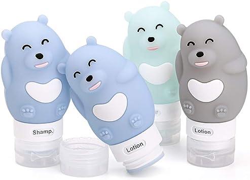 Botellas y Contenedores de Viaje, FantasyDay 4 Pack 80ml Botella Portátil de Viaje de Silicona - TSA