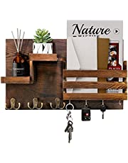 ROLOWAY Key Holder & Mail Holder for Wall Decorative, Mail Organizer Wall Mounted with Key Hooks, Key Hanger with Wood Floating Shelf for Entryway Decor