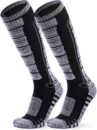 TSLA Unisex Ski Winter Active Snowboard Comfort Calf Socks, 2pairs(mzs82) - Black & Grey/Black & Grey, L [Men 8.5-11_Women 9.5-13]