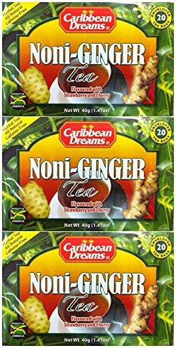 (Caribbean Dreams Noni-Ginger Tea Flavored with Strawberry & Cherry, 20 Tea Bags (3 Pack))