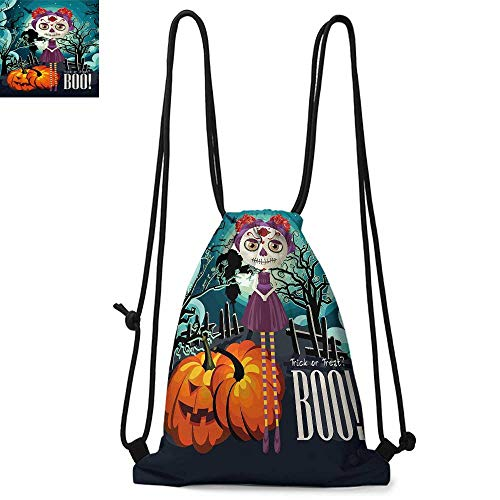 Halloween Durable Drawstring Backpack Cartoon Girl with Sugar