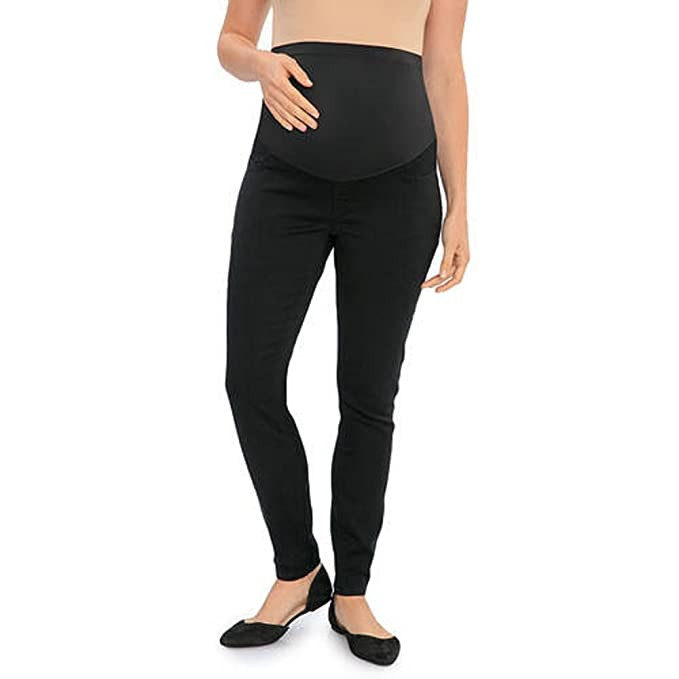 d56bfdb8fca43 Great Expectations Maternity Over The Belly Denim Jeggings (XL, Black Rinse)