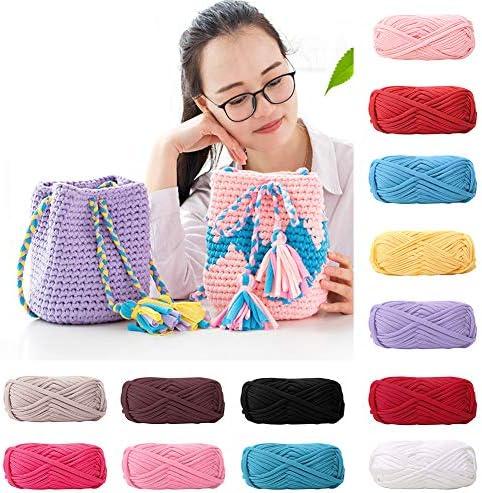 Tshirt Yarn Kit for Crocheting Ribbon Yarn 100/% Cotton Macrame T-Yarn London T Yarn Organic 4 Balls Total of 218 Yards T-Shirt Yarn Fettuccini Zpagetti Set Knitting Yarn Ball