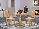 East West Furniture DLVA3-OAK-C 3-Pc dining room