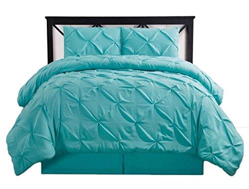 Oxford Comforter Set - sheetsnthings Oxford-Decorative Pinch Pleat Twin Extra Long XL 3PC Comforter Set, Aqua