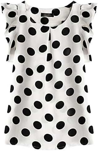 SportsWell Women's Dots Pleated Sleeve Slim Fit Blouse Girls Chiffon Tee Shirts