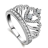 Rings Women 18K white Gold Plated AAA Cubic Zirconia Princess Crown Ring Girl Gift Wedding Engagement (White Gold, 9)