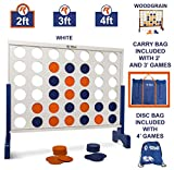 Giant 4 in A Row, 4 to Score with Carrying Bag - Premium Wooden Four Connect Game Set in 2' White Wood by Rally & Roar - Oversized Family Outdoor Party Games for Backyard, Lawn, Parties, Bar Game