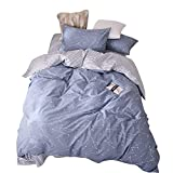 BuLuTu Space Constellation Kids Bedding Duvet Cover Set Full Blue for Boys Girls, Reversible Premium Cotton Hotel Striped Bedroom Bedding Sets Queen Comforter Cover Zipper Closure,NO Filling