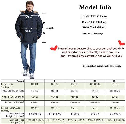Yozai Men's Winter Jacket Military Warm Fleece Coat with Detachable Hooded Outwear