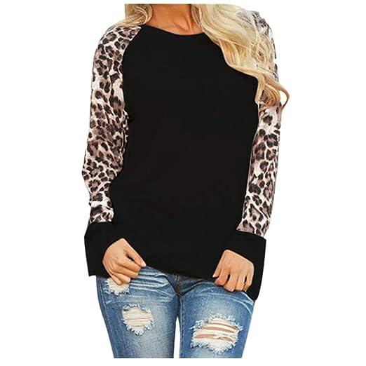 7e41b86df26d Sunhusing Ladies Leopard Print Long Sleeve Pullover Top Women's Casual Round  Neck Oversize T-Shirt