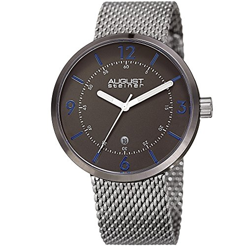 August Steiner Men's Quartz Stainless Steel Casual Watch, Color:Silver-Toned (Model: AS8204SSGN)