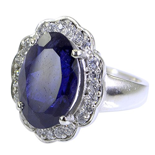 55Carat Natural Gemstone Round Shape Iolite Ring Silver For Women In Size US 5,6 ,7,8,9,10,11,12,13 (Gemstone Iolite Ring)