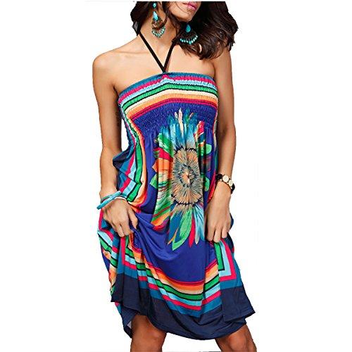 Sun Up étnicos de de sin Mujeres azul delgado 01 Style tirantes Traje QBQ baño Cover Boho Bandeau traje Beach Vestido baño floral 0wUqZtCn