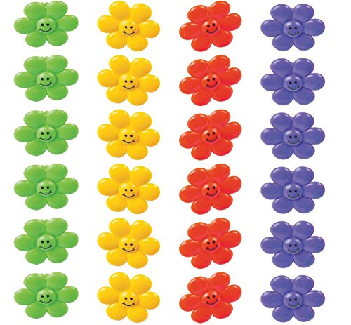 Smile Face Flower Rings - Pack of 24 - 1.25 Inches Assorted Colors - for Kids, Great Party Favors, Bag Stuffers, Fun, Toy, Gift, Prize, Piñata Fillers - by - Bags Smile Great