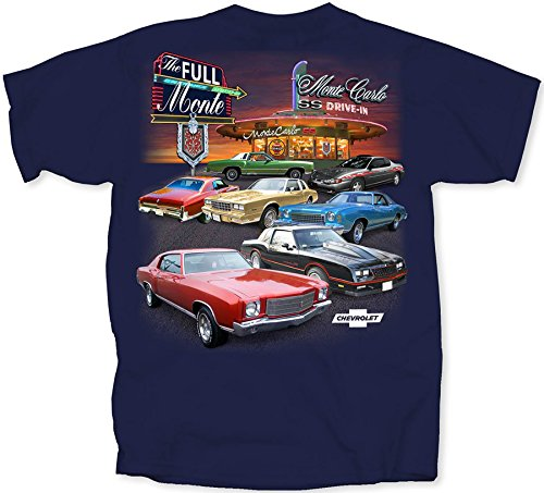 Chevy Full Monte Carlo Drive In T-Shirt by Joe Blow T's, Medium, Navy