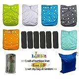 LilBit Baby Reusable Pocket Cloth Diapers, 6 pcs + 6 pcs Bamboo Charcoal Inserts