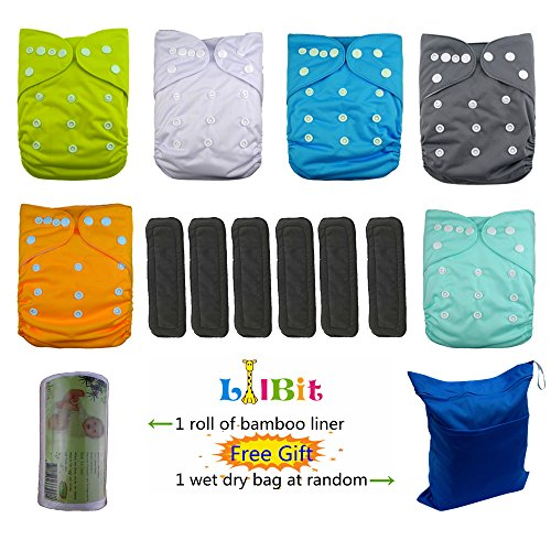LilBit Baby Reusable Pocket Cloth Diapers, 6 pcs + 6 pcs Bamboo Charcoal Inserts by LilBit
