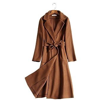 FJTHY Otoño Mujer Abrigo de Lana de Pelo Caramelo Mujer Larga sección,café,S