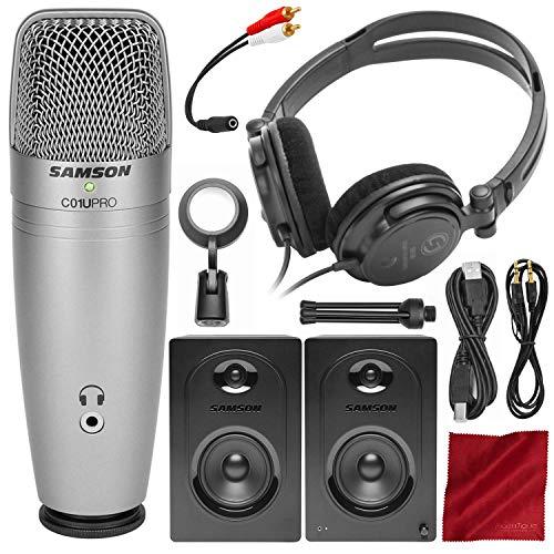 (Samson C01U Pro Recording Pack w/USB Microphone, Headphones, and Software + MediaOne M50 Studio Monitors Bundle)
