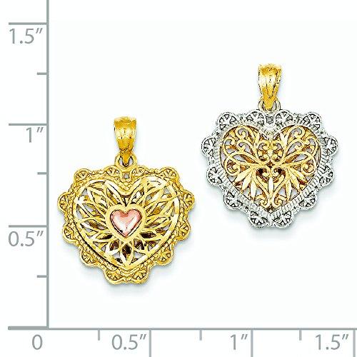 Réversible 14 carats rhodié en filigrane Or Rose Pendentif en forme de cœur-Dimensions: 25,9 x 33,8 mm-JewelryWeb