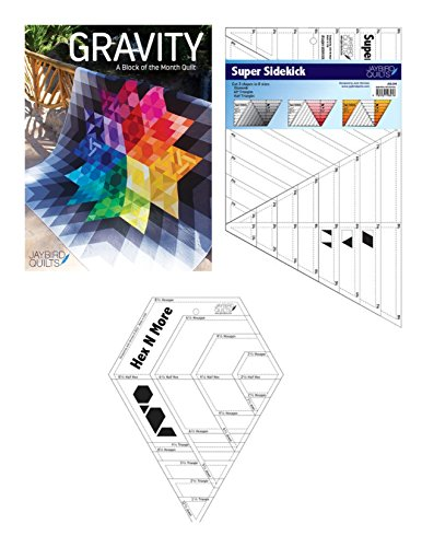 Gravity Block Of Month Quilt Patterns Softcover with Needed Rulers Super Sidekick and Hex N More Set ()