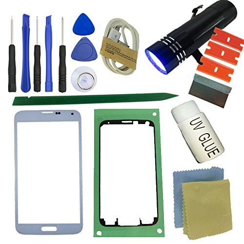 for Samsung Galaxy S5 Screen Replacement, Sunmall Front Outer Lens Glass Screen Replacement Repair Kit for Samsung Galaxy S5 SV G900 G900A G900P G900R4 G900T G900V with UV Glue UV Torch (White)