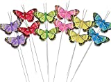 Butterfly Floral Picks - Set of 12 Colorful Glitter Artificial Butterflies Attached to Wire Stems - Butterfly Centerpieces - Butterfly DIY - Feather Butterflies