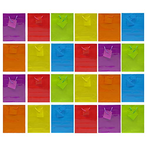 Colorful Gift Bags | 9'' x 7.5'' x 3.5'' | Glossy Neon Colored Paper Party Bag | Blank Assorted Bright Rainbow Set with Rope Handles | Special Occasion, Event Supplies Snacks, Arts and Craft Present Bags by Anapoliz