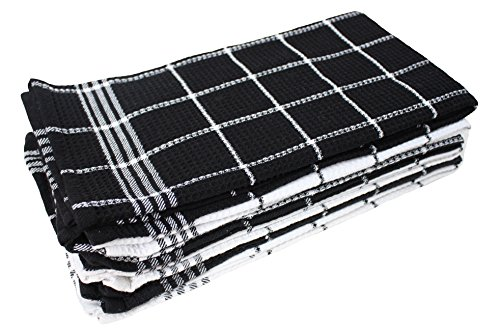 "J&M Home Fashions Cotton Waffle Checkered Terry Dish Towels, 18x25"" Set of 6, Absorbent Durable Drying Cleaning Kitchen Towels-Black/White"
