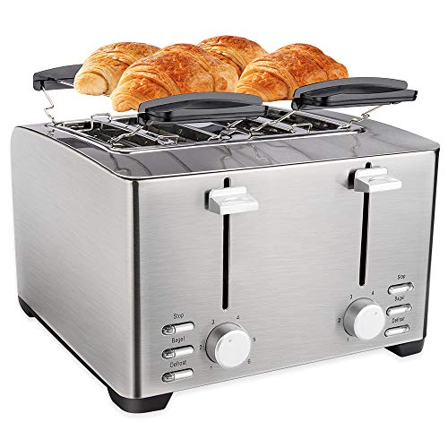 Schloß 4 Slice Toaster, Extra Wide Slot for Bread, Stainless Steel,Warming Rack, 6 Shade Settings, Bagel/Defrost/Cancel…