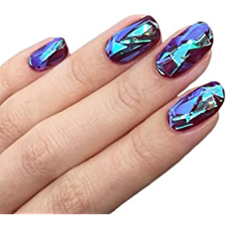 Amazon bmc 6 sheet clear holographic nail art foil strips btartbox 10 packs mixed color reflective mirror design glass piece broken nail sheet prinsesfo Images
