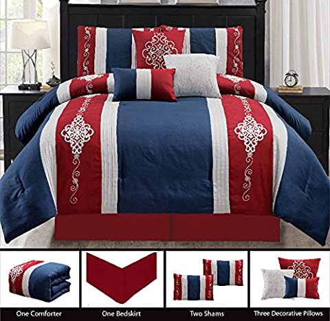 Modern 7 Piece Bedding Burgundy Red, Navy Blue, White Embroidered and Embossed King Comforter Set with accent pillows