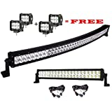 Led Lights,Serpeo 42 Inch 240W Curved LED Light Bar Flood Spot Combo Beam IP68 Waterproof Driving Light with a 120W Led Light Bar and 4 Pcs 18W Pods Led Lights for Off-road Truck Car ATV SUV Jeep Boat 4WD