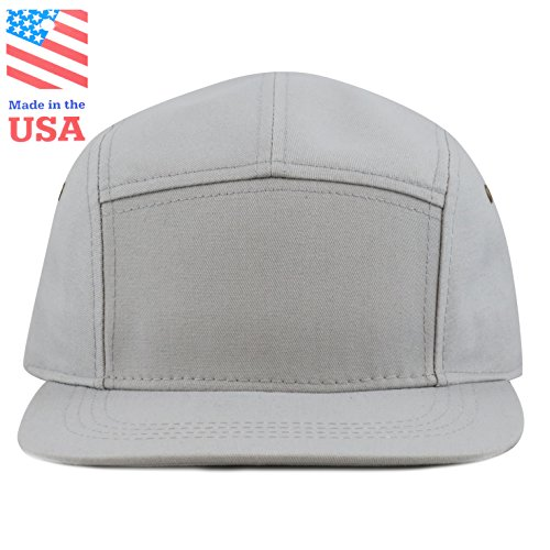 aed909332a9 THE HAT DEPOT Cotton Twill 5 Panel Flat Brim Genuine Leather Brass Biker  Board Cap - Buy Online in Oman.