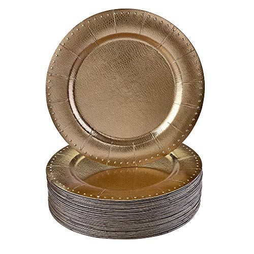 DISPOSABLE ROUND CHARGER PLATES - 20pc (Gold Beaded)