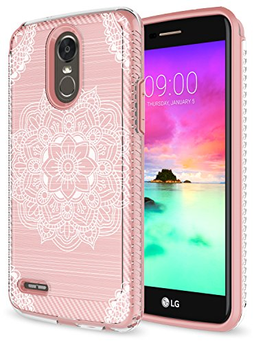 LG Stylo 3 Case, LG Stylo 3 Plus Case, Rosebono Premium Slim Fit Sleek Shockproof Carbon Fiber Mandala Pattern Design Case Cover for LG Stylo 3 / LS777 (Rose Gold Mehandi)