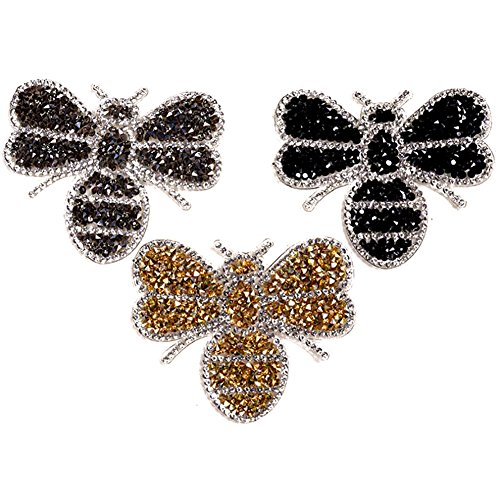 3 x Da.Wa Embroidery Glitter Little Bee Shape Patch Sew Iron On Badge Bag Clothes Fabric Patches Applique DIY Sewing Sticker Craft
