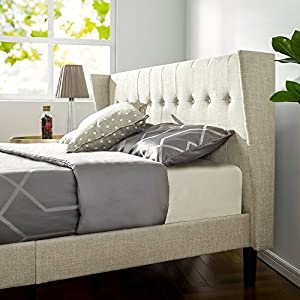 Zinus Upholstered Button Tufted Wingback Platform Bed/Wood Slat Support