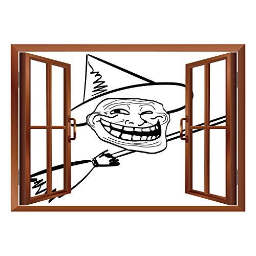 SCOCICI Wall Sticker,Window Looking Out Into/Humor Decor,Halloween Spirit Themed Witch Guy Meme LOL Joy Spooky Avatar Artful Image,Black White/Wall Sticker Mural