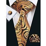 Hi-Tie Paisley Gold Mens Necktie Hanky Cufflinks Set