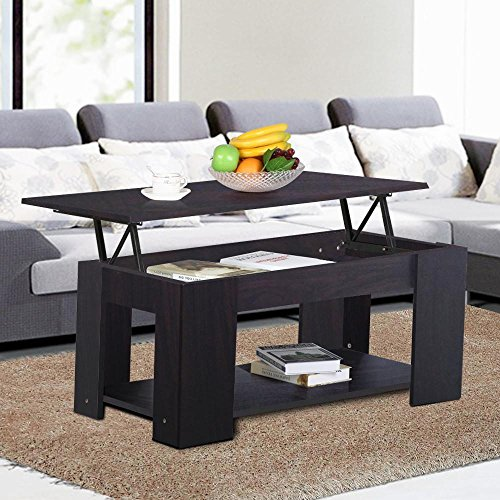 Topeakmart Modern Wood Lift Up Top Coffee Table With Under