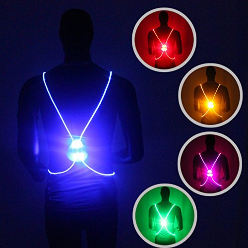 Reflective Flashing Led (Richermall Cycling LED Safety Vest- Night Riding Reflective Warning Vest Adjustable Belt High Visibility LED for Jogging Hiking(no batteries) (blue))