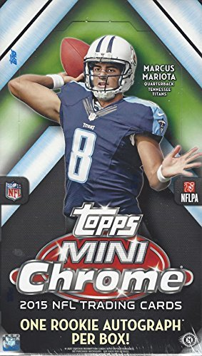 2015 Topps Chrome Mini Football Cards Hobby Box (24 Packs/Box, 4 Cards/Pack). Look for (1) Auto, (8) Inserts, (24) Rookie Cards, and (6) Refractor Parallels Per Box!! 12/16 Release Date! ()