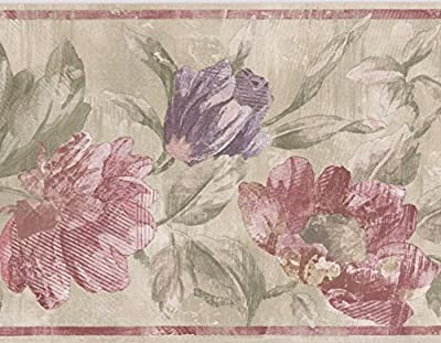 Red Purple Flowers Green Rustic Wallpaper Border Paint by Design, Roll 15' x 7''