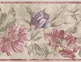 wall borders grapes - Red Purple Flowers Green Rustic Wallpaper Border Paint by Design, Roll 15' x 7''