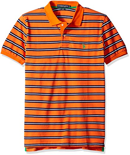 (U.S. Polo Assn. Men's Striped Pique Classic Fit Shirt, Pattern 2/Summer Orange, X-Large)