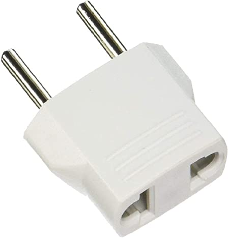 Two Round Prongs To Two Flat Prongs International Europe to USA Plug Adapter